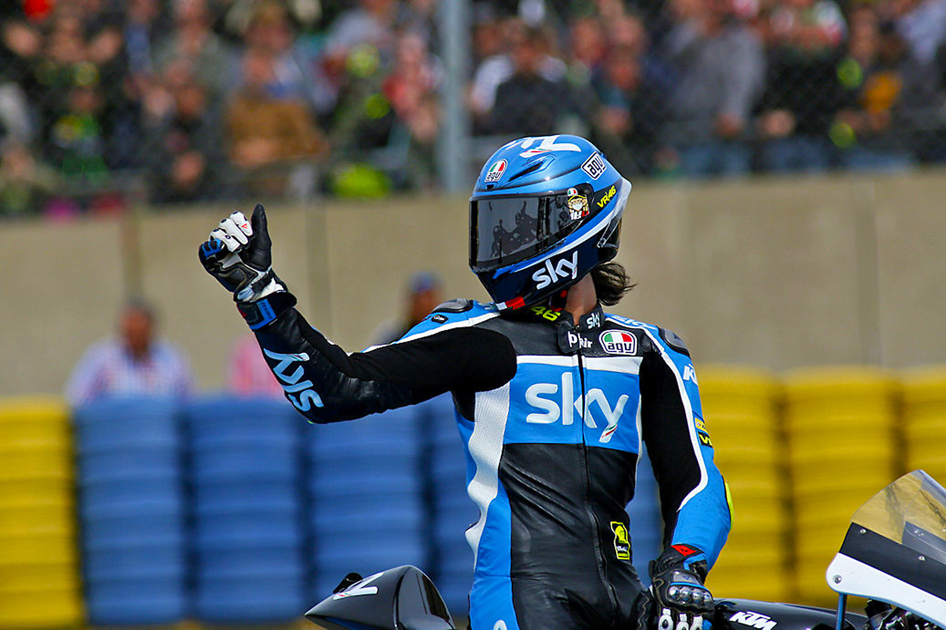 Nicolò Bulega Sky Racing Team celebrates the good result of the Moto3 race