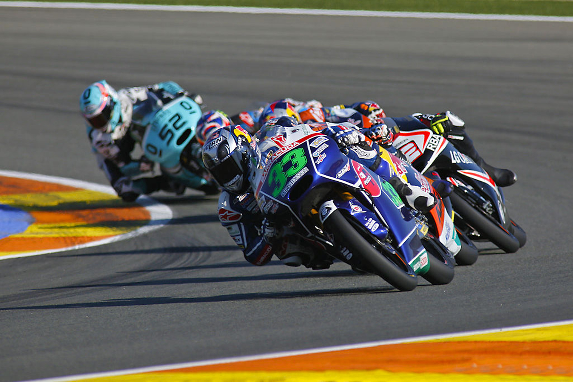 Enea Bartianini leading the pack.Enea Bartianini leading the pack. Moto3 World Championship
